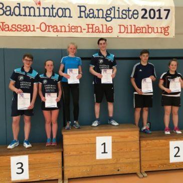 Bezirksrangliste: vier Turniersiege bei der Jugend – einer bei den Erwachsenen